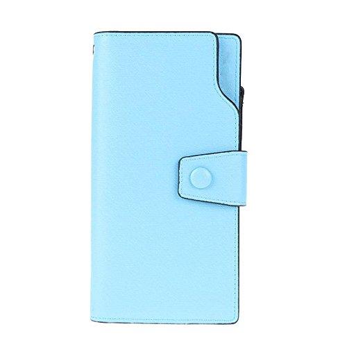 Domybest Grote Capaciteit Vrouwen Portemonnee Leer Lange portemonnee Rits Handtas (Lichtblauw)