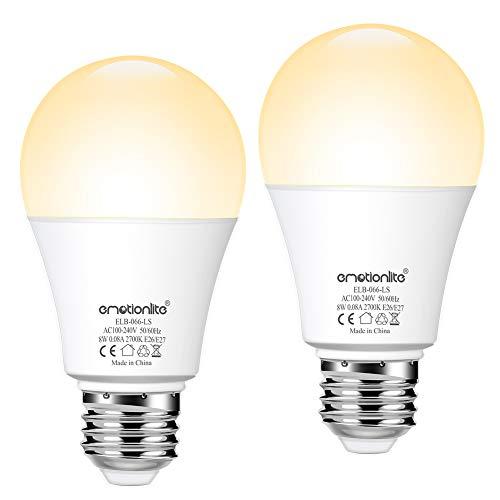 LED E27 Lichtsensor Glühlampen, LED Lampe mit Dämmerungssensor,Emotionlite Warmweiß LED E27, Glühbirne, 60-Watt-Äquivalent, für die Veranda, Terrasse, Garage, Flur, Keller, A19, 8W,2700K, 2er-Pack