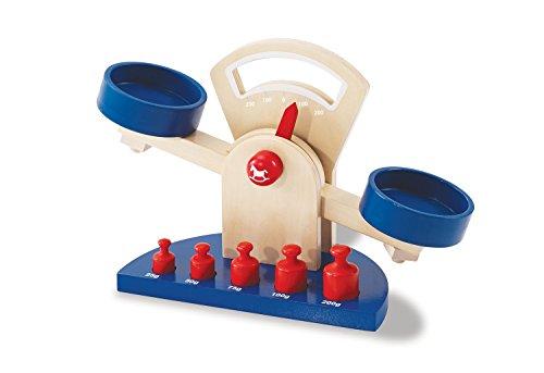 Pinolino Willy weegschaal, 6-delig, van hout, incl. 5 gewichten met gewichtsbedrukking, voor kinderen vanaf 3 jaar