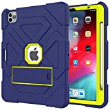 RZL Pad y Tab Fundas para iPad Air 4 2020, Silicona. Ordenador Personal Funda Protectora Protectora Anti-caída y Tableta a Prueba de Golpes para iPad Air 4 2020 (Color : Navy+Yellow Green)
