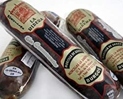 We are delighted to offer this gourmet speciality from one of the highest cities in Spain, Burgos in Castilla y Leon. This is a pack of two black puddings made with rice and delicately flavoured with cumin. Slice into chunky coins and fry lightly - s...