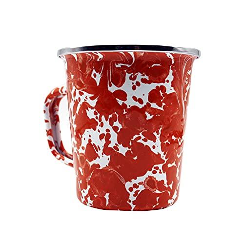 Taza de café y té esmaltada de acero inoxidable 500ml (10,5cm x 10cm) (Naranja)