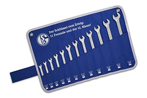 Juego de llaves inglesas del FC Schalke 04, 12 unidades, de 6 a 19 mm producto original, 6 mm | 7 mm | 8 mm | 9 mm | 10 mm | 11 mm | 12 mm | 13 mm | 14 mm | 15 mm | 17 mm | 19 mm