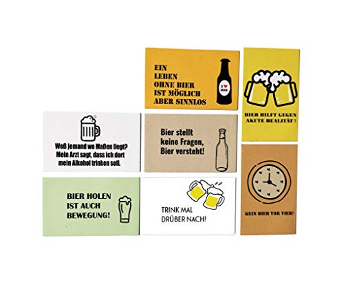Magnete für Kühlschrank 7er Set | Lustige Sprüche für Bier-Liebhaber | Magnete mit Sprüchen | Mitbringsel Erwachsene | Küche Deko | 55mm x 88mm | Ink. Bonus: Geschirrspüler Magnet Clean & Dirty
