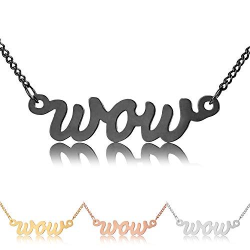 Collar modabilé Collar de damas Colgante Wow Plata Esterlina 925 (42-47cm I 1,2mm de ancho) I Collar de Plata Negra rodiada con Letra Colgante para Mujeres con Caso I Producido en Alemania