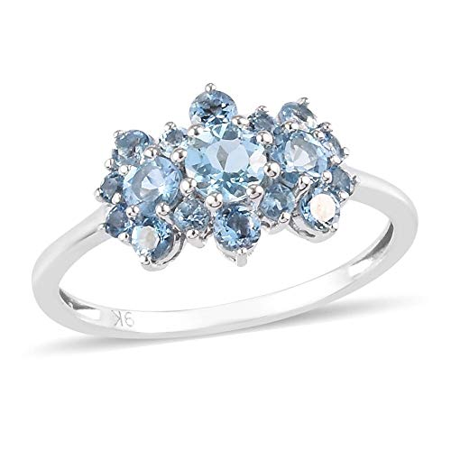 TJC Aquamarine Cluster Ring for Womens in 9ct White Gold Wedding/Anniversary Jewellery Size O Blue Coloured March Birthstone Jewellery, TCW 1.41ct