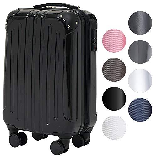 スーツケース キャリーバッグ S 軽量 8輪キャスター TSAロック 拡張機能 ブラック KD-SCK