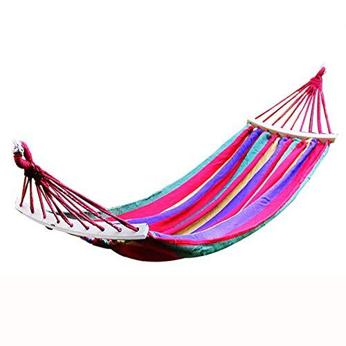 ZTMN hangmat, Outdoor Adult Camping Canvas om zijwaartse bocht te voorkomen met houten stok, slaapzaal hangstoel, 190 * 80cm (kleur : blauw) Rood