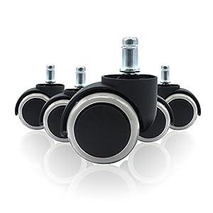 WINTEX – Ruedas para Sillas de Oficina de 11 mm – 5 Ruedas de Repuesto de 49 mm de Diámetro – Ruedas Gris para Sillas…