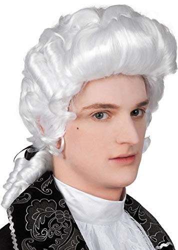 Hommes Blanc Juge Baroque Historique Costume Déguisement Perruque