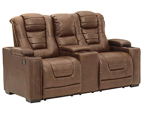 Signature Design by Ashley Owner's Box Faux Leather Power Reclining Loveseat, Brown