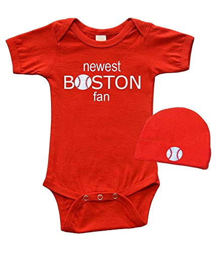 Baby Bodysuit and Cap Set - Newest Boston Fan, Red, 12-18m