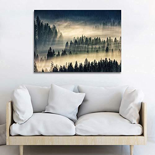 sanzangtang bosnevel landschap poster en druk op canvas kunstwand woonkamer decoratie frameloos 70x105cm