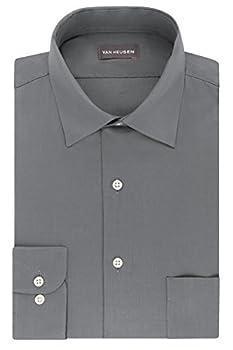 Van Heusen mens Regular Fit Lux Sateen Stretch Solid Dress Shirt Grey 17.5 Neck 34 -35 Sleeve X-Large US