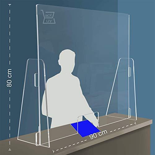 [90x80cm] Barriera Divisoria Parafiato e Parasputi da Banco in Policarbonato con apertura Plexiglass