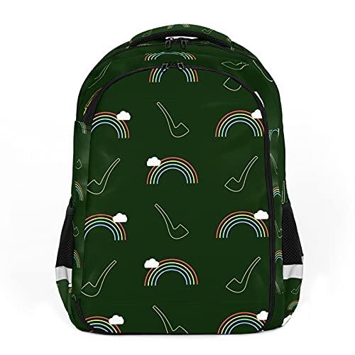 Arco iris verde pintado a mano, perfecto para mochilas escolares y de viaje, mochilas de estudiantes perfectas para todas las edades
