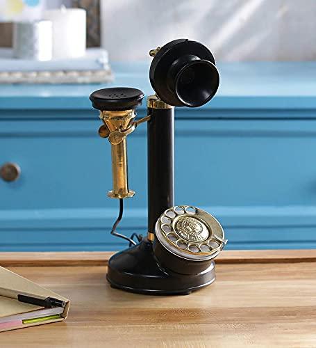 Carfar 12 pulgadas hecho a mano de latón antiguo rotatorio Dial retro teléfono fijo con cable antiguo decoración para el hogar, teléfono clásico decorativo