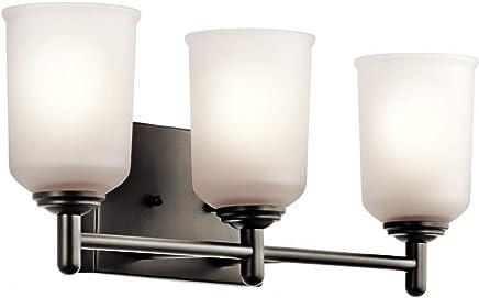 Kichler Lighting 45574OZ シャイリーン - 3灯 浴室化粧台、オールドブロンズ仕上げ ホワイトオパールガラス