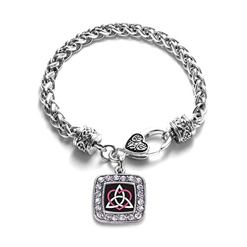 Inspired Silver - Celtic Sisters Knot Braided Bracelet for Women - Silver Square Charm Bracelet with Cubic Zirconia Jewelry
