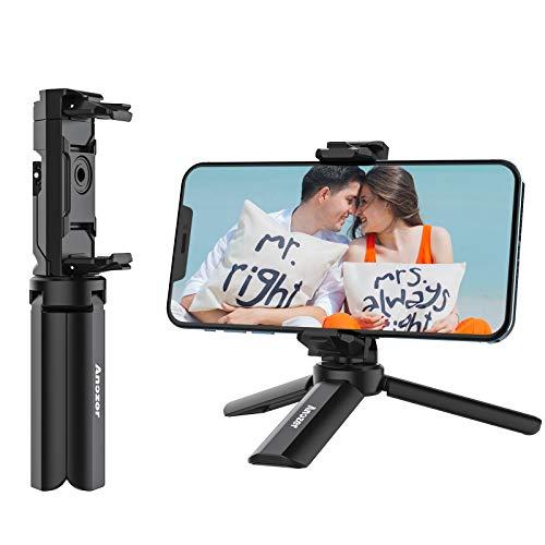 Anozer Mini Trípode de teléfono, Soporte Móvil trípode de Escritorio Giratorio de 360°con 1/4 Tornillo de Rosca para iPhone 12/12 Pro/11/Xs MAX, Samsung, Huawei P40, Xiaomi Redmi, LG etc