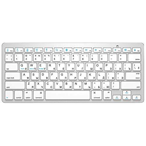 Teclado Bluetooth Keyboard inalámbrico Ultra Slim Mute Teclado Bluetooth Pc (Color : RU Silver)