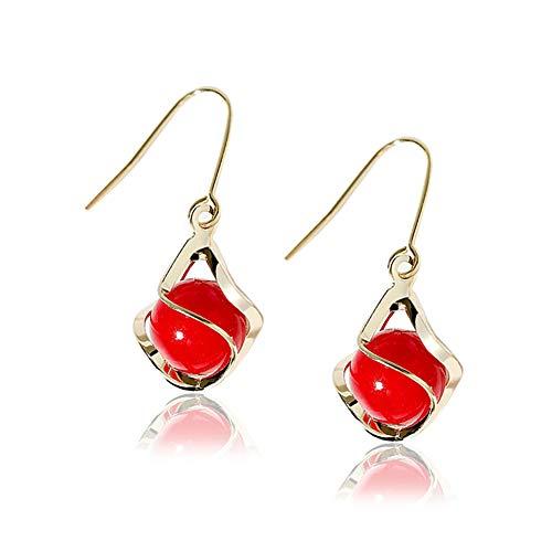 Pendientes mujer plata de ley 925 de chapado en oro pendientes espiral largos con colgantes de perlas rojas de joyería aretes de moda para mujeres niñas