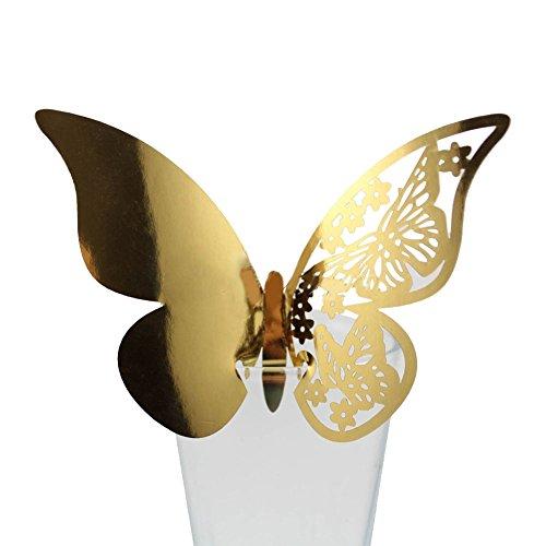 Kalaokei 50 piezas huecas mariposas copas de vino mesa lugar tarjetas de nombre boda fiesta decoración, dorado, 25