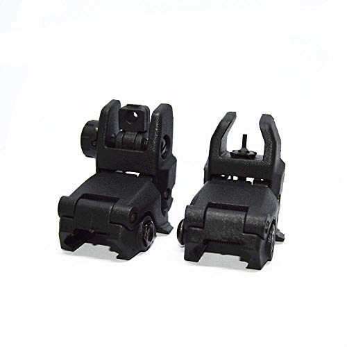 FIRECLUB Newest Model Tactical Polymer Folding Front and Rear Set Flip Up Backup Sights Black