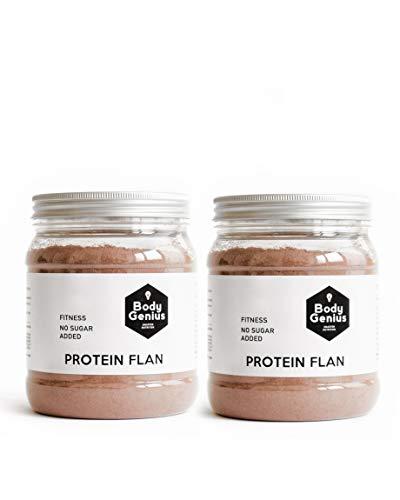 BODY GENIUS Dúo Protein Flan (Chocolate). 2x275g. Preparado en polvo para flan proteico. Con Stevia y Sin Azúcares Ni Polialcoholes Añadidos. Alto en Proteína. Hecho en España.