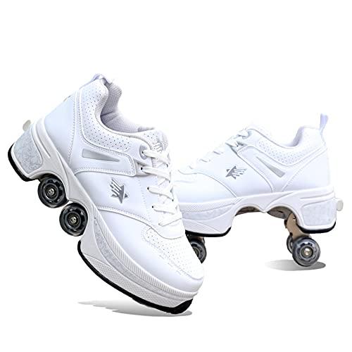 2 W 1 1Multifunctional Shoes Deformation Roller Buty Cztery Kołowe Łyżwy W Rolkach Buty Parkourowe Dla Początkujących Prezent,White-39