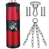 ZILINGO - Saco de boxeo Heavy Duty cadena de acero de cuatro puntos, sin relleno, 100 x 30 cm, saco de boxeo, saco de arena