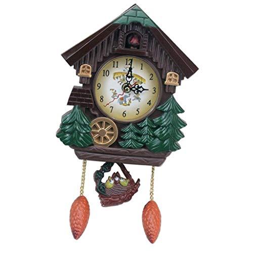 PETSOLA Reloj De Cuco Artesanal De Pájaros con Música En Casa Sala De Estar Interior Decoración Artesanía