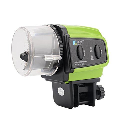 UPSLON 自動給餌器 餌やり器 金魚 熱帯魚 水槽 セット フードタイマー オートフィーダー 配給量調節可能 グリーン