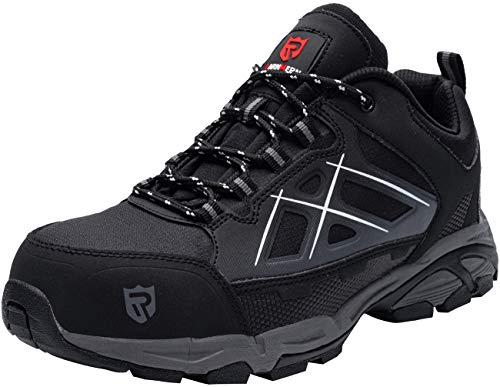 LARNMERN PLUS S1P SRC - Zapatos de seguridad para hombre, con puntera de acero, antiperforación, ligeros, deportivos, protección, color Negro, talla 46 EU