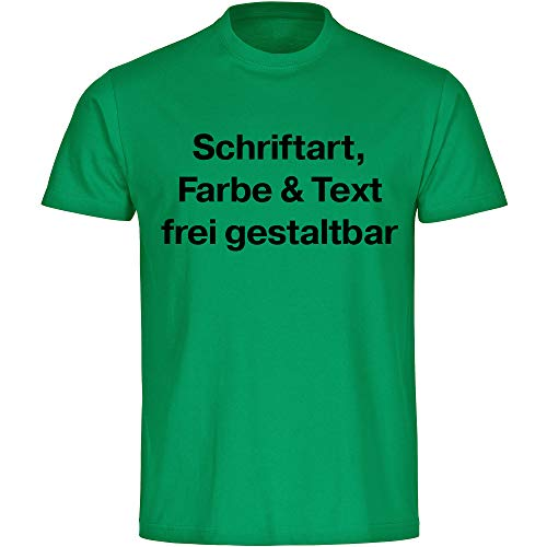 Kinder T-Shirt Druck vorne (Anpassung von Text, Schriftart, Schriftfarbe und Artikel Farbe) - Größe 92 bis 176 - Bedrucken Wunschtext Shirt Jungen Mädchen, Größe:164, Farbe:grün