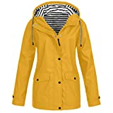 Regenmantel Damen Winterjacke Pumps Wintermantel Outdoor Plus Solide Wasserdichter Kapuzenjacke Regenjacke für Frauen Outdoorjacken Wanderjacke mit Kapuze Windproof Outwear Windbreaker
