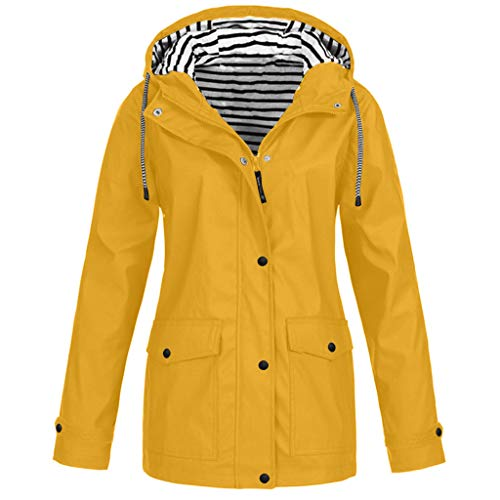 Leeafly 2020 Damen Outdoorjacken Sonnenschutz Wasserdichter, Damen Frühling Herbst Mantel bequem Solide Regenjacke Outdoor Jacken mit Kapuze Regenmantel Parka Coat (XL,Gelb)