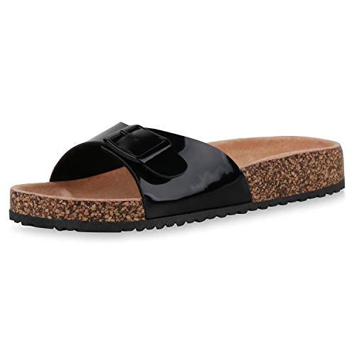 SCARPE VITA Damen Sandalen Pantoletten Hausschuhe Lack Korkoptik Profilsohle Schuhe Flache Schlupfschuhe 196308 Schwarz Black Total 39