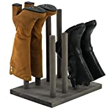MyGift 4-Pair Vintage Gray Solid Wood Boots Holder Entryway Organizer Storage Rack Stand