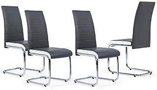 IDMarket - Lot de 4 chaises Mia Grises liseré Blanc pour Salle à Manger