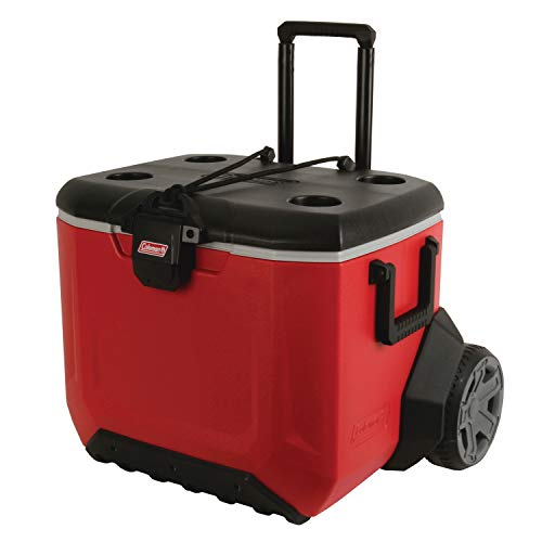 Coleman Rugged 55-Quart A/T Wheeled Rolling Cooler in Red