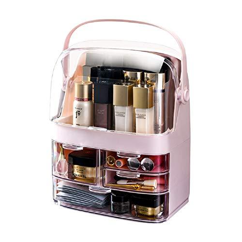 Kosmetikkoffer Kosmetik-Make-up-Koffer Schminkkoffer Schmuckkoffer Organizer aus 3 Teilen, mit 4 Schubladen für Dresser Bad Schlafzimmer,Rosa
