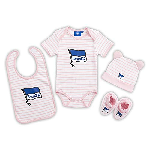 Hertha BSC Berlin Baby Set - rosa-weiß - 4-TLG Body Mütze Latz Schuhe Geschenkset (L) Größe 62/68