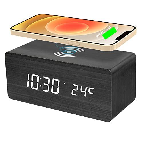 LED Digital Wecker Holz mit Qi Kabellose Laden 10W Fast Charge USB Digitaluhr mit Licht Klang-Kontrolle Datum Zeit Temperatur Tischuhr Standuhr Nachttischuhr Dekoration für Schlafzimmer Büro(Schwarz)