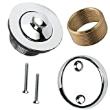 Lift and Turn Bathtub Tub Drain Assembly, Conversion Kit, Trim Waste and Two Hole Overflow Face Plate, All Brass Construction - Chrome Finish