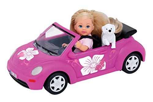 Simba 105731539 - Evi Love Evi\'s Beetle / Evi mit Auto/ Auto: 22cm / mit Hund / Ankleidepuppe / 12cm, für Kinder ab 3 Jahren