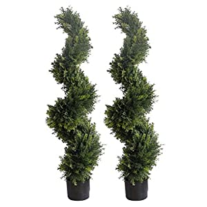47 inch/3.9 ft Artificial Cypress Topiary Trees Artificial Cedar Cypress Trees Faux Cypress Spiral Silk Trees Boxwood Topiary Artificial Trees,Artificial Cypress Leave Spiral Trees,Set of 2