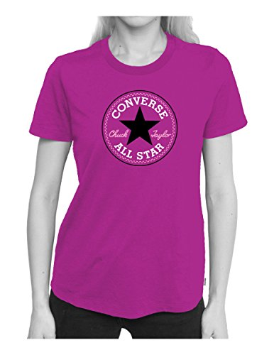 Converse Core Solid Chuck Patch Crew T-Shirt Femme, Violet, FR (Taille Fabricant : XS)