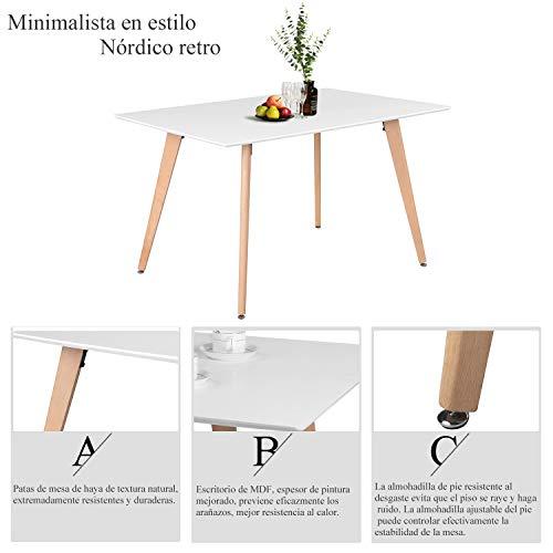 FurnitureR Mesa de Comedor Rectangular para 4 Personas Réplica Eames para Salón, Cocina, Café,…