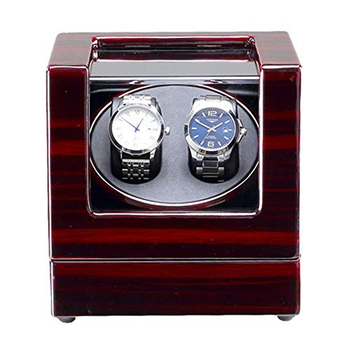 XIUWOUG Caja de reloj doble automático con luz LED azul, lacado de piano, motor silencioso, fuente de alimentación y funcionamiento con pilas (color: C).